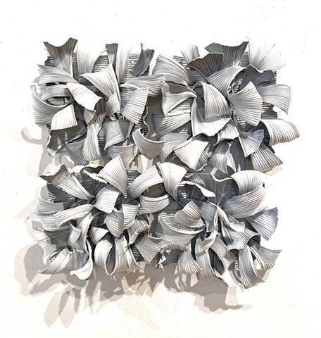 Organic abstract wall sculpture primed aluminum dimensional white