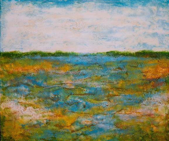 Encaustic landscape contemporary modern original painting