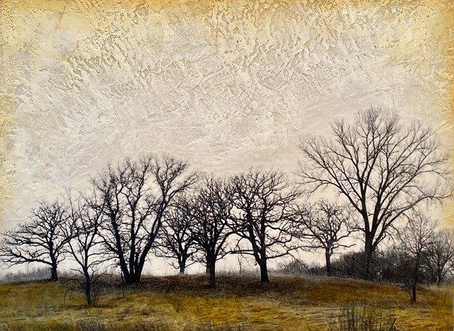 Encaustic landscape with trees texture and original for sale