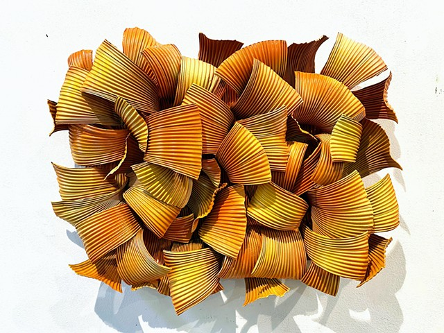 contemporary modern organic wall sculpture abstract orange and yellow