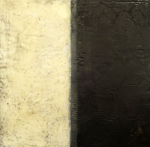 Fine art encaustic abstract contemporary painting shellac black cream