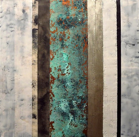 Abstract, contemporary, encaustic painting on wood