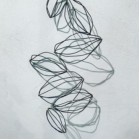 Seeds shapes that are abstract made of annealed steel wire with solder to create negative space