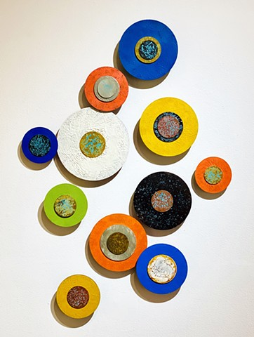 Color Encaustic circles wall art sculpture orange blue black