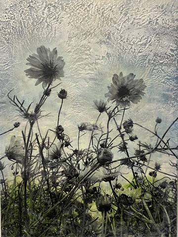 For sale! original painting Encaustic and photo collage flowers