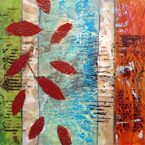 Abtract fine art Encaustic and screen printing on wood panel for sale