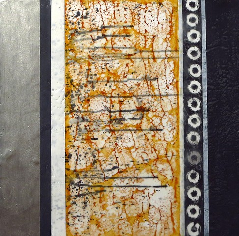 Original fine art encaustic beeswax, shellac and graphite on wood
