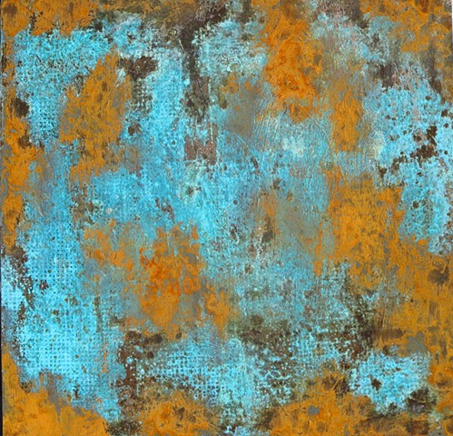 Fine art encaustic abstract contemporary painting rust and patina