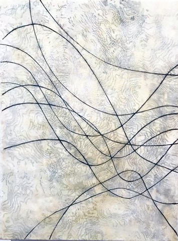 Encaustic black and white contemporary sine wave and topography painting