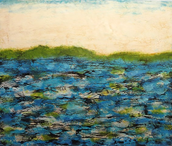 Encaustic landscape contemporary modern original painting water lakes