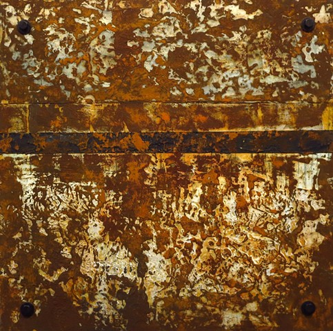 Abstract original encaustic and rust painting on acrylic panel
