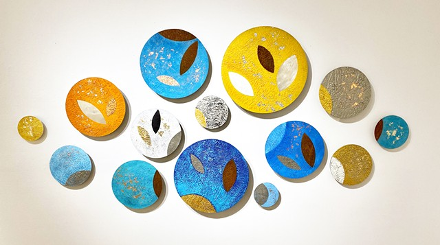 Modern wall sculpture circles wall art painting encaustic aluminum art for sale