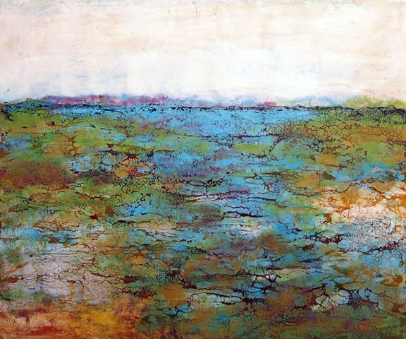 Landscape painting with jewel tones abstracted Encaustic fine art