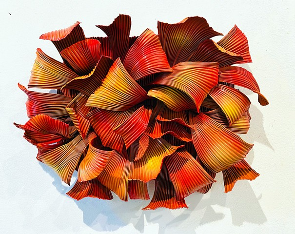 vibrant red wall sculpture is dimensional modern and contemporary
