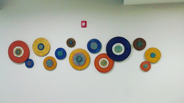 Abstract art paintings sculptural disks circles