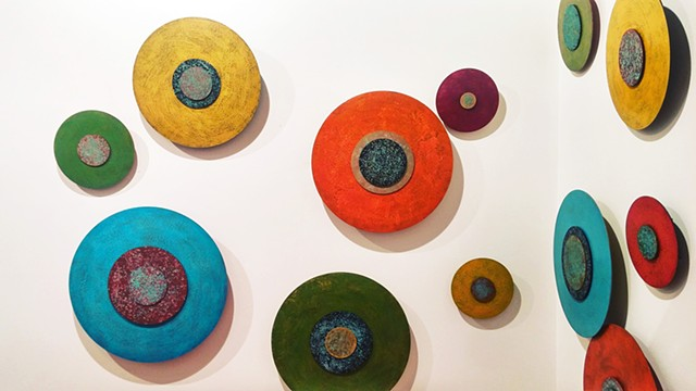 Art installation abstract disks encaustic dimensional sculptural