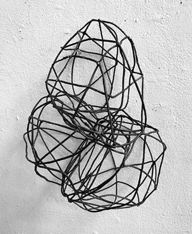 Line drawing wall sculpture 3-dimensional shadows temporary sculpture