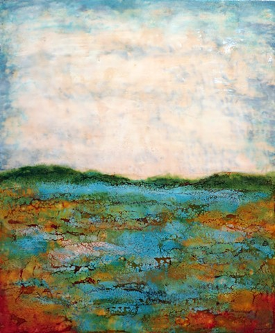 Encaustic landscape contemporary modern original painting summer color