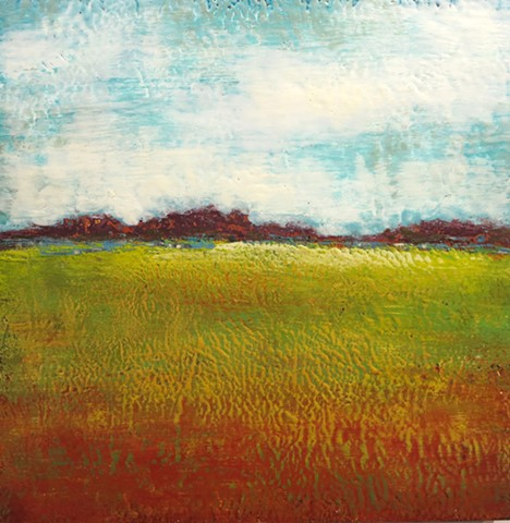 Encaustic original fine art landscape on wood panel