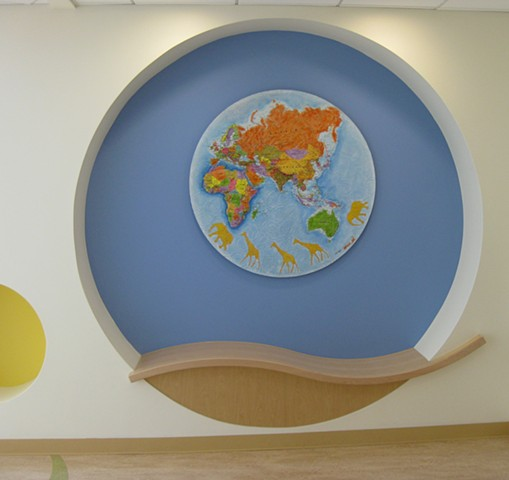 world map Africa children's art hospital custom texture bright colors
