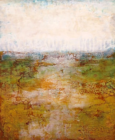 Encaustic landscape abstracted in ochre and greens