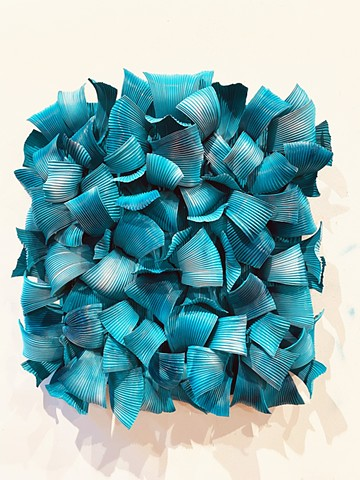 Metal contemporary wall sculpture abstract organice turquoise blue