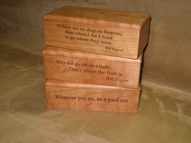 Chris Kamm glarner design lyrical box series laser engraved cherry wood boxes