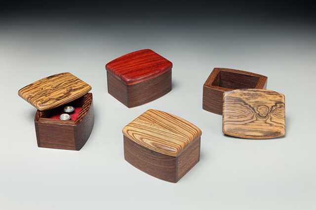 Chris Kamm Glarner Design small wood ring boxes hand polished sculptural