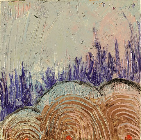painting, happiness, abstract, blue, los angeles, stacy wendt, thick paint, small painting, contemporary