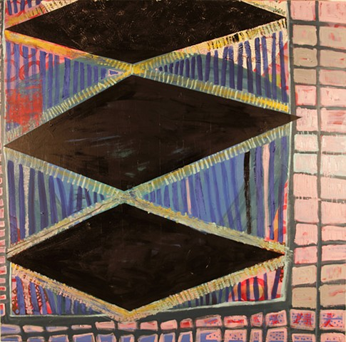black diamond, painting, oil painting, acrylic paint, contemporary, art, abstract, los angeles, stacy wendt, grids, stripes