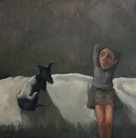 oil painting girl dog Bobbie Russon