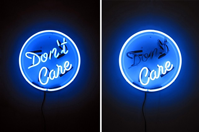 Care/Don't Care Interactive Neon Sign
