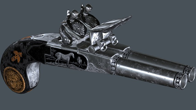 Double Barreled Flintlock Pistol