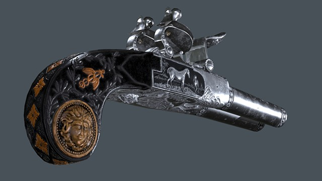 Double Barrel Flintlock Pistol