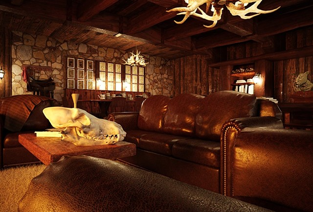 This was in partnership with Spencer Fitch who did the shading and lighting as well as some modeled props.  I did the antler chandelier, Lioness scuplture, wood beams, large door & book shelves.