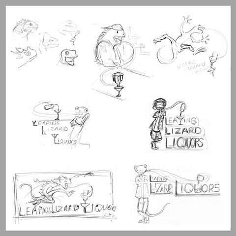 Leaping Lizard Early Rough Sketches