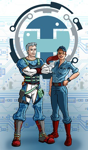 Tech Hero and Tech Girl New poses with Tech Hero shield and BG