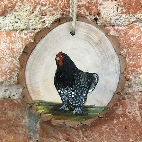 Small acrylic painting on cut wood with natural jute twine for hanging