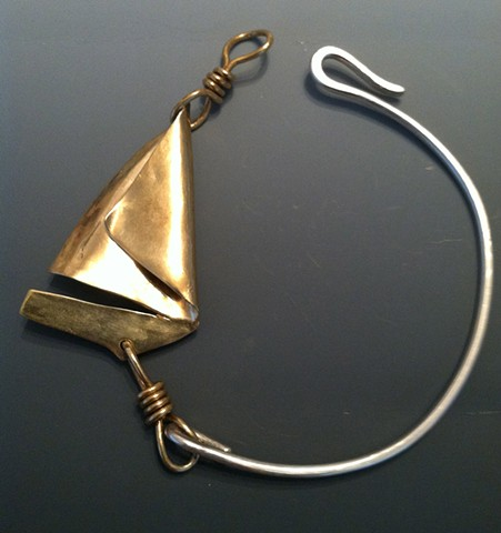 Hand Formed Sailboat Bracelet- Nu gold