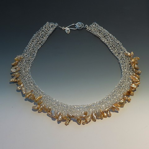 Keshi Pearl Crocheted Sterling Silver Collar