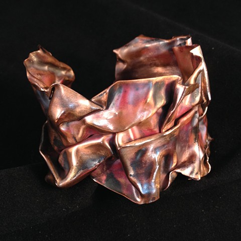copper fold form, heat patinated