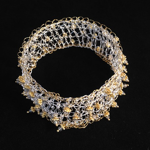 Hand Crocheted Cuff with Dangling Embellishments