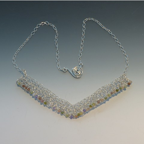 Multi-Zirconia, Silver Crocheted Necklace