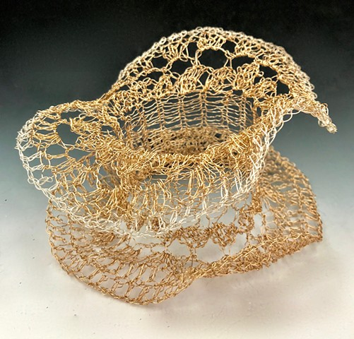 cuff, sterling silver, gold filled, wire, crocheted, woven