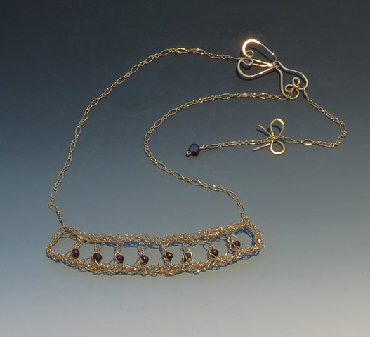 Garnet Studded Gold-filled Necklace