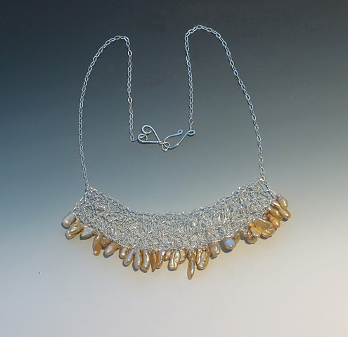 Silver crocheted Keshi Pearl Necklace