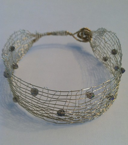 Hand Woven two tone Cuff with Labadorite