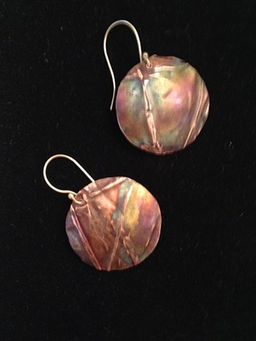 Hand-forged Copper fold-formed earrings; Heat patinated