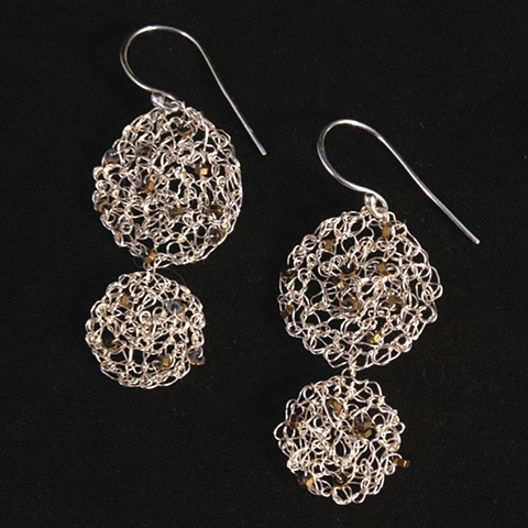 Hand crocheted nu gold wire; embellished with hematite delicas