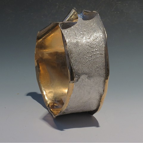 Reticulated silver filled nugold cuff
